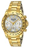 Accurist Men's Quartz Watch with Silver Dial Chronograph Display and Gold Stainless Steel Plated Bracelet MB980S