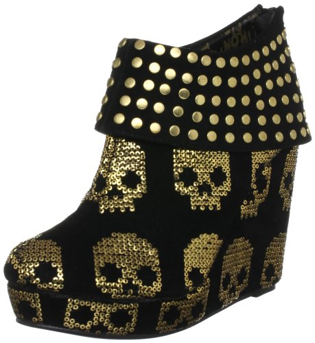 Iron Fist Women's Gold Star Black/Gold Wedges Boots IFLWEG0013 5 UK, 38 EU, 7 US