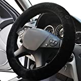 Zone Tech Plush Stretch- On Vehicle Steering Wheel Cover – Classic Black Premium Quality Comfy Car Steering Wheel Protector