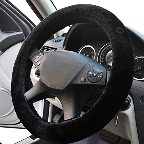 Zone Tech Plush Stretch- On Vehicle Steering Wheel Cover - Classic Black Premium Quality Comfy Car Steering Wheel Protector (Classic Vw Wheels compare prices)