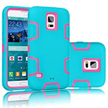 buy Galaxy S5 Case, Tekcoo(Tm) [Troyal Series] [Blue/Pink] Hybrid Shock Absorbing Shock Dust Dirt Proof Defender Rugged Full Body Hard Case Cover Shell For Samsung Galaxy S5 S V I9600 All Carriers