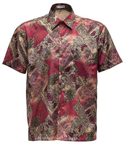 Men's Shirt Short Sleeve Thai Silk Patterned Classic Red (XXL)