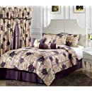 Chezmoi Collection 7 Piece Purple Rose Flower Garden Jacquard Comforter Set Bed In A Bag Queen Size
