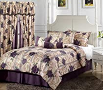 Big Sale Chezmoi Collection 7-Piece Purple Rose Flower Garden Jacquard Comforter Set, Bed in a bag Queen Size