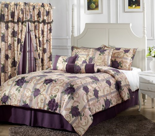 Chezmoi Collection 7-Piece Purple Rose Flower Garden Jacquard Comforter Set, Bed In A Bag King Size front-106473