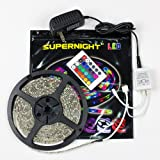 SUPERNIGHT (TM) IP65 Waterproof 5M/16.4 Ft RGB SMD 3528 300 Leds Color Changing Kit with Flexible LED Strip Light+ 24 key IR remote controller+12V 2A Power Supply