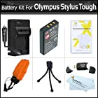 Battery And Charger Kit For Olympus Stylus Tough 8010 6020 TG-610 TG-810 TG-820 iHS, TG-830 iHS, TG-630 iHS, TG-850 iHS, TG-860 Digital Camera Includes Extended (1000maH) Replacement LI-50B Battery + AC/DC Charger + STRAP FLOAT + Screen Protectors + More