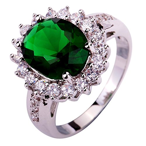 YAZILIND Lady's Silver Plated Flower Shape Emerald Zircon Ring For Women Gift Size7 (Yazilind Rings compare prices)