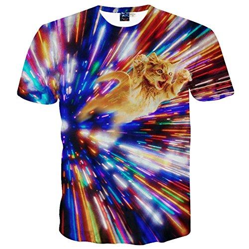 1911NCメンズ3Dプリント おもしろ おしゃれ ファッション ロック スタイル 人気 カットソー 遊ぶ 猫柄Tシャツ 半袖 夏