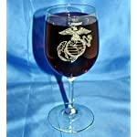 Custom Etched USMC Emblem on 13 Oz. White Wine Glass Set of 4