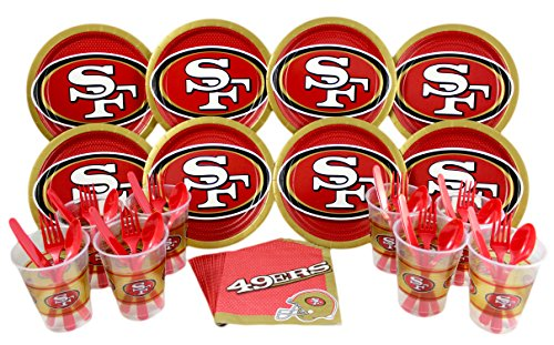 NFL San Francisco 49ers Plate, Napkin, Cup, Fork, Spoon, Knife Party Set for 8