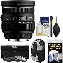 Sigma 24-70mm f28 IF EX DG HSM Zoom Lens with Case  3 UVCPLND8 Filters Kit for Nikon D3200 D3300 D53