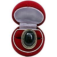 Bold N Elegant Black Gem Inlaid Retro Ring