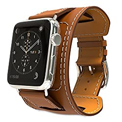 Apple Watch Band, MoKo Genuine Leather Smart Watch Band Cuff Strap Replacement for 42mm Apple Watch Models, BROWN (Not Fit 38mm Version 2015)