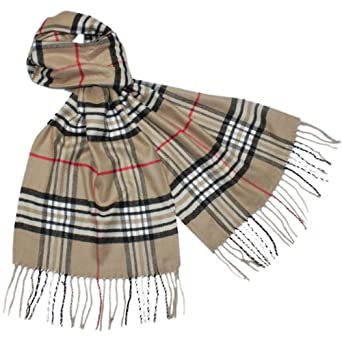 Classy Plaid Viscose Silky Cashmere-Feel Tassel Ends Long Scarf - Tan