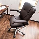 働く女性にピッタリ 肘置きが気持ちいいオフィスチェア 肘可動式 パソコン用事務椅子 リラックスロッキング コンパクトデザイン ブラウン色