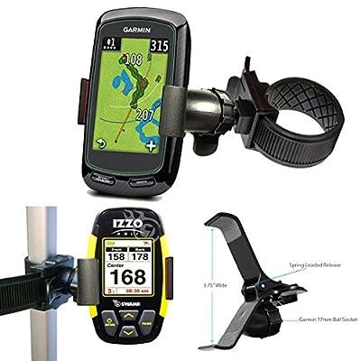 ChargerCity Strap Lock 360° Rotate Adjustment Golf Trolley Cart Pole Bar Mount for Garmin Approach G3 G5 G6 G7 G8 Golf Buddy Tour Voice World Platinum VS4 IZZO Swami SkyCaddie Touch SGX SGXW SG3.5 SG4.5 Breeze Callaway UPRO MX + Ragefinder GPS (Fits Smart