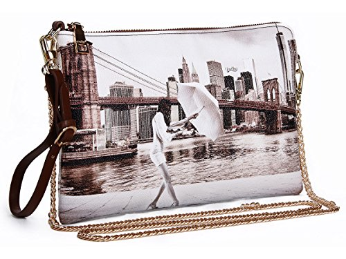 BORSETTA DONNA A TRACOLLA YOU BAG STAMPA NEW YORK BROOKLYN NUOVA ORIGINALE CON ETICHETTE
