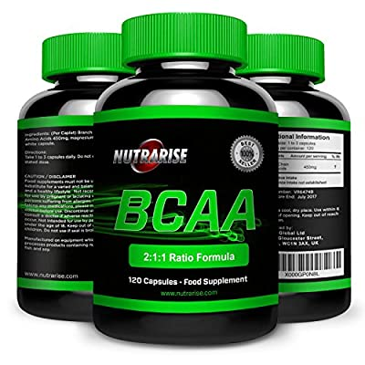 BCAA, Branched Chain Amino Acids For Weight Loss, Optimum Nutrition for Bodybuilding, Strength and Endurance, Contains Glutamin for Pre Workout & Recovery, Made in the UK, 120 Capsules