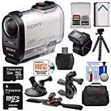 Sony Action Cam FDR-X1000VR Wi-Fi 4K HD Video Camera Camcorder & Remote + 32GB Card + Helmet, Handlebar & Suction Cup Mounts + Battery + Case + Kit