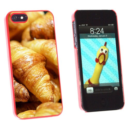 Croissants Bread - France Paris - Snap On Hard Protective Case for Apple iPhone 5 5S - Red