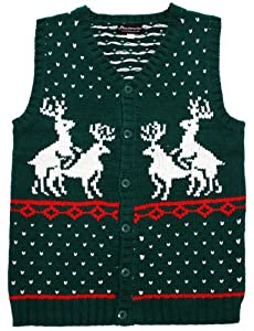 Ugly Christmas Sweater - Humping Reindeer Games Holiday Sweater Vest in Green