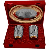 "Kapasi Handicrafts Brass [Gold-Silver Coated] Glass Set Of 2 Piece With Tray GIFT ARTICLE ( L X B X H ) 9.5"" X..."