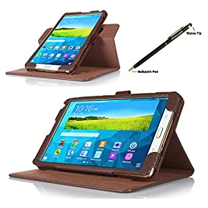 ProCase Samsung Galaxy Tab S 8.4 Dual View Case (horizontal and vertical display) - Rotating Cover Case with Stand exclusive for 2014 Samsung Galaxy Tab S (8.4 inch, SM-T700) Tablet (Brown) by ProCase