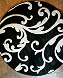Modern Round Area Rug Hollywood Black&Pure White Design #290 (5ft.6in.X5ft.6in.Round)