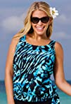 Beach Belle Blue Bell Plus Size Blouson Tankini Top Womens
