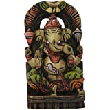 Divya Mantra Wall Decor Hand Carved Single Piece Wooden Ganeshji