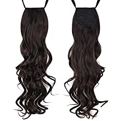 Curly/Wavy Ribbon Ponytail Extensions (Dark Brown)