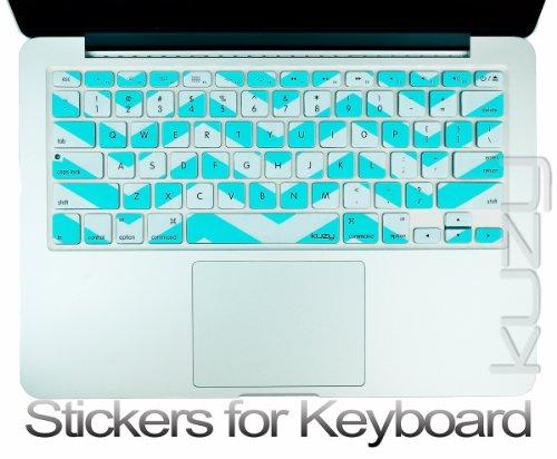 $$  Kuzy - Stickers Teal Hot Chevron Zig-Zag Keyboard Skin for MacBook Pro 13