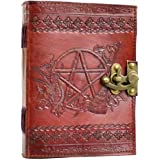 Pentagram Leather Blank Book With Latch, A Pentagram Decorated With Various Tools And Symbols Of Witchcraft. Border & Rear Embossing May Vary. Sizes Vary Slightly. Leather, Handmade Paper. 240 Pages