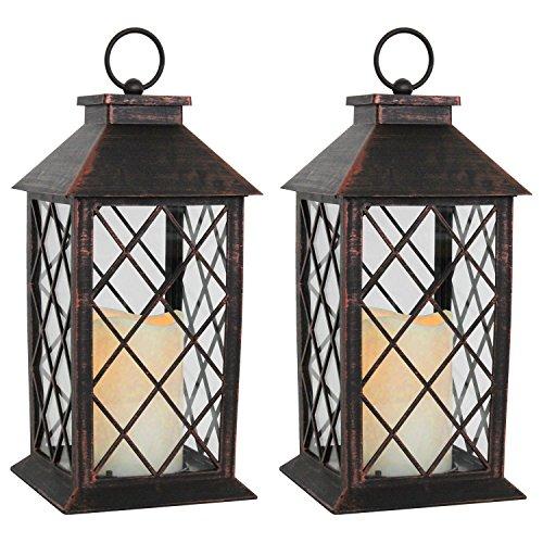 2-Stck-Laterne-H28cm-mit-LED-Kerze-mit-Flacker-Effekt-Laterne-Windlicht-Gartenlaterne-Kerzenhalter-Gartenbeleuchtung-Dekoration-Kupfer-Antik-Optik