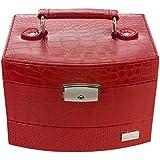 Miabelle - MIAP60028C - Art Deco - Boite à bijoux Femme - Rouge - Cuir Synthétique - Avec Miroir - Intérieur Velours - Fermeture par Clé - 18.8x15x13 cm