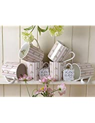 Set of 6 Katie Alice Cottage Flower Pink Stripe Shabby Chic Mugs Vintage Inspire