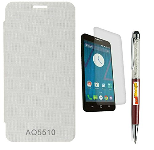 RedMango Flip Cover Case for Micromax Yu Yureka AO5510 - White + Free Crystal Diamond Touch Screen Stylus Pen + Screen Protector