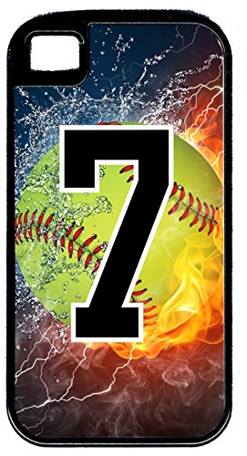 iPhone 5c Hybrid Case Softball On Fire Flaming Any Custom Jersey Number 7 Black Plastic Black Rubber (Iphone 5c Case Softball Pitcher compare prices)