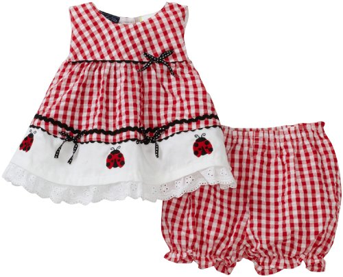 51bhrV8J91L Cotton Dress So La Vita Baby girls Newborn Ladybug Seersucker Dress, Red, 3 6 Months Reviews