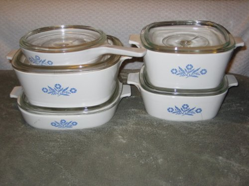 Black Friday Deals 10 PIECE SET - Vintage Corning Cornflower Blue Glass 6 1 2 Skillet 1 1 2 Quart 1 3 4 Quart 2 1 2 Quart  9