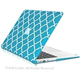 "TopCase Quatrefoil / Moroccan Trellis Aqua Blue Ultra Slim Light Weight Rubberized Hard Case Cover for Macbook Air 13"" Model: A1369 and A1466"