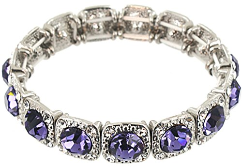 Light Sapphire Blue And White Sparkle Stones Stretch Bracelet - Taya