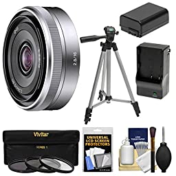 Sony Alpha E-Mount E 16mm f/2.8 Lens with 3 Filters + Tripod + NP-FW50 Battery & Charger + Kit for A7, A7R, A7S Mark II, A5100, A6000, A6300 Cameras