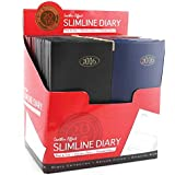 2016 Slim Week To View PVC Leather Effect Diary with Gold Metal Corners - Black Blue Red Randomly Sent
