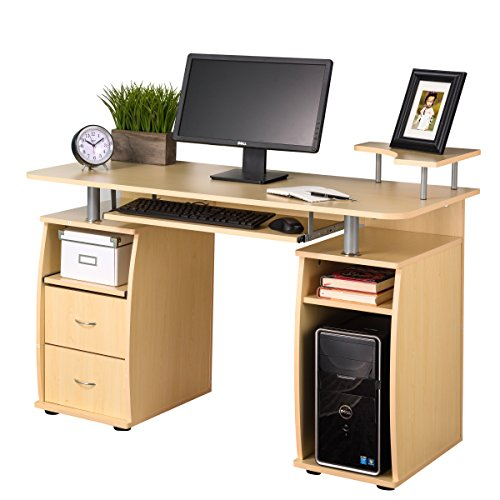 Fineboard Home Office Computer Desk, Yellow Teak