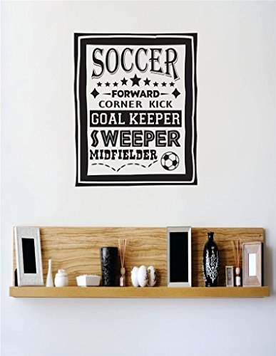 Design with Vinyl 1 C 2220 Decor Item Soccer Forward Goal Keeper Sweeper Midfielder Boys Men Kids Bedroom Image Sports Quote Wall Decal Sticker, 12 x 18-Inch, Black