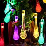 Solar Outdoor String Lights, iDOO 20ft 30 LED Frozen Raindrops Pattern Fairy Solar String Lights for Outside Decor, Patio Roof, Balconies, Arbor, Wedding, Christmas party and etc - Multi Color
