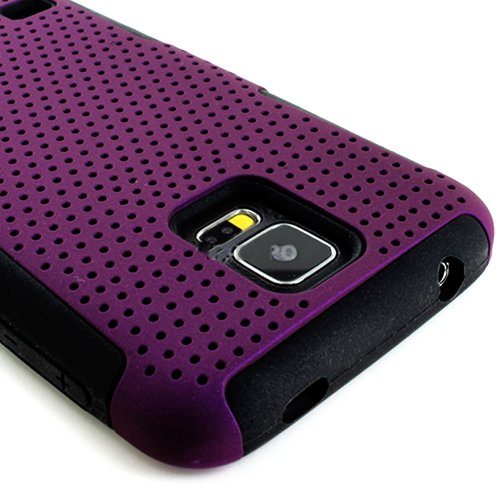 Mylife (Tm) Deep Violet Purple And Charcoal Black - Perforated Mesh Series (2 Layer Neo Hybrid) Slim Armor Case For The New Galaxy S5 (5G) Smartphone By Samsung (External Rubberized Hard Shell Mesh Piece + Internal Soft Silicone Flexible Gel + Lifetime Wa