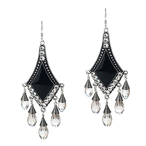 She Lian Vintage Silver Tone Rhinestone Jewelry Big Dangle Chandelier Earrings for Women (Black) (Vintage Rhinestone Earrings compare prices)